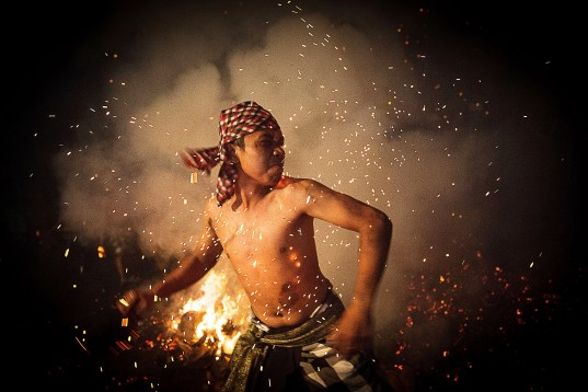Balinese Fire Ritual Held On Eve Of Nyepi