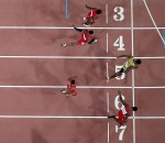 BEIJING, CHINA - AUGUST 23:  Usain Bolt of Jamaica (R) wins gold ahead of (bottom to top) Justin Gatlin of the United States, Tyson Gay of the United States, Mike Rodgers of the United States and Trayvon Bromell of the United States during the Men's 100 metres final during day two of the 15th IAAF World Athletics Championships Beijing 2015 at Beijing National Stadium on August 23, 2015 in Beijing, China.  (Photo by Ian Walton/Getty Images)