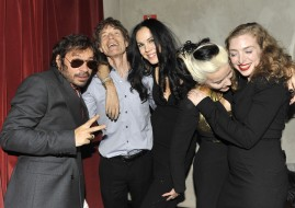 NEW YORK, NY - FEBRUARY 15: (L-R) Olivier Zahm, Mick Jagger, L'Wren Scott, Daphne Guinness and Rachel Feinstein attend L'WREN SCOTT After Party at Gramercy Park Hotel on February 15, 2012 in New York City. (Photo by Leandro Justen/Patrick McMullan via Getty Images)