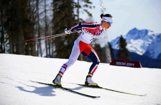 SOCHI, RUSSIA - FEBRUARY 22:  Marit Bjoergen of Norway competes during the Women's 30 km Mass Start Free during day 15 of the Sochi 2014 Winter Olympics at Laura Cross-country Ski & Biathlon Center on February 22, 2014 in Sochi, Russia.  (Photo by Richard Heathcote/Getty Images)