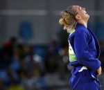 RIO DE JANEIRO, BRAZIL - AUGUST 10:  Sally Conway of Great Britain celebrates after defeating Bernadette Graf of Austria during the Women's -70kg Bronze A medal bout on Day 5 of the Rio 2016 Olympic Games at Carioca Arena 2 on August 10, 2016 in Rio de Janeiro, Brazil.  (Photo by Elsa/Getty Images)